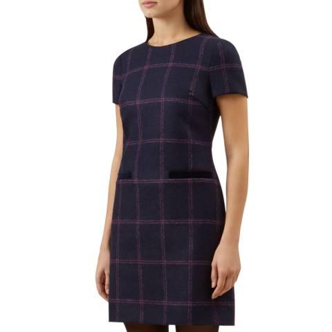 Hobbs London Navy Check Riley Wool Dress