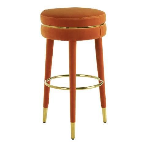 Fifty Five South Manhattan Bar Stool, Orange Velvet, Rubberwood Legs