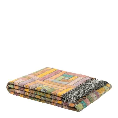 Lanerossi Mustard/Green Baltimora Merino Wool Throw 130x190cm