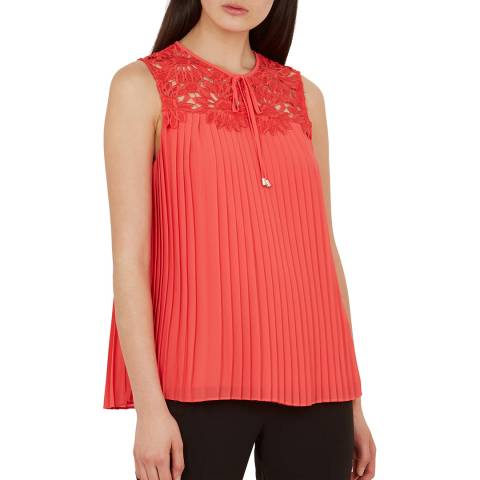 Ted Baker Red Sherbey Pleated Top