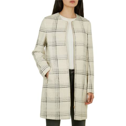Ted Baker Off White Mairey Check Coat