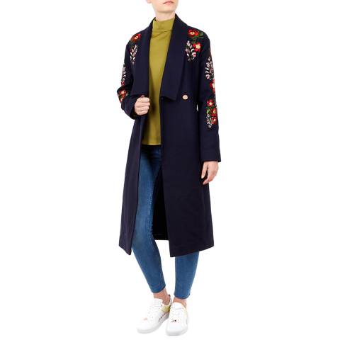 Ted Baker Navy Sirenna Embroidered Coat