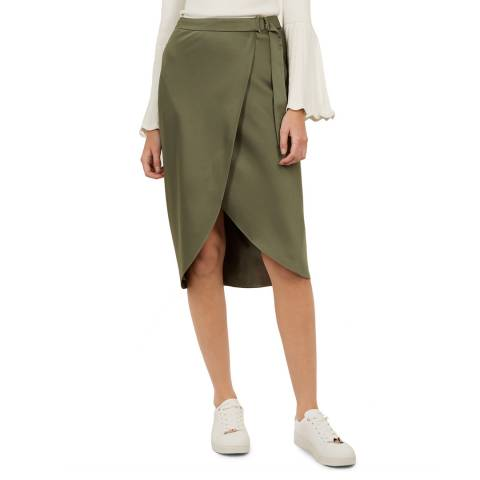 Ted Baker Khaki Aleyxa Midi Skirt