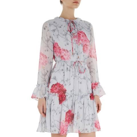 Ted Baker Grey/Pink Eriin Ruffle Dress