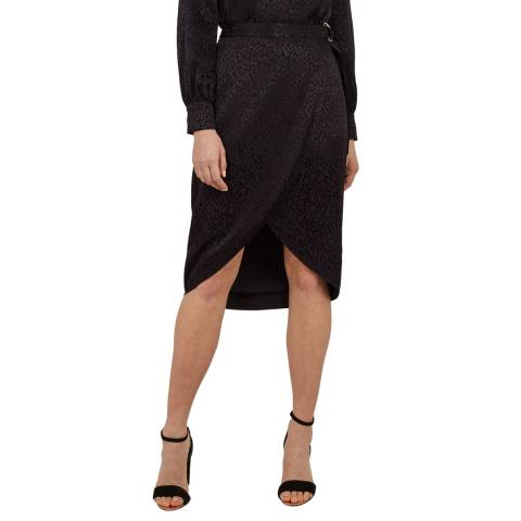 Ted Baker WMS-ALLEXXI-WH9W-belted wrap leopard midi skirt