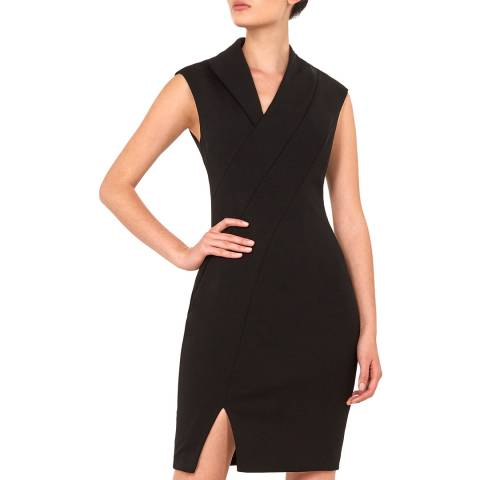 Ted Baker Black Geodese Wrap Pencil Dress