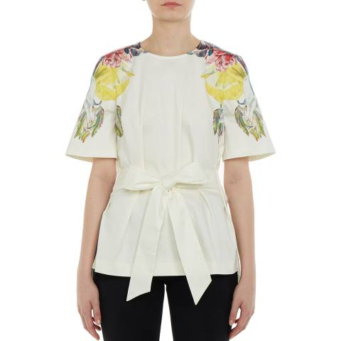 Ted Baker White Bonnay Tie Cotton Top