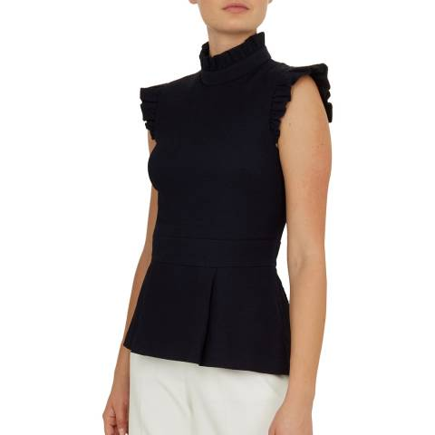 Ted Baker Navy Bubbl Ruffle Top