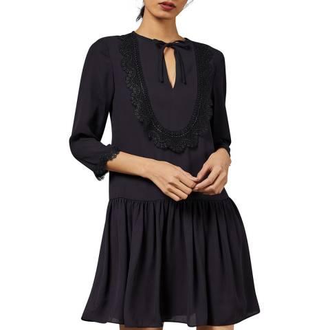 Ted Baker Navy Kourt Lace Bib Dress