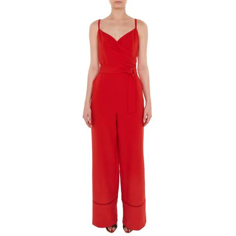 Ted Baker Red Lissa Wrap Jumpsuit