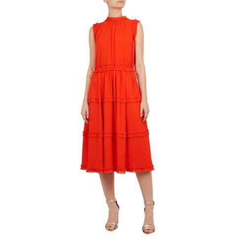 Ted Baker Orange Sinita Midi Dress