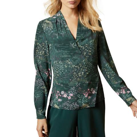 Ted Baker Dark Green Thessie Wrap Blouse