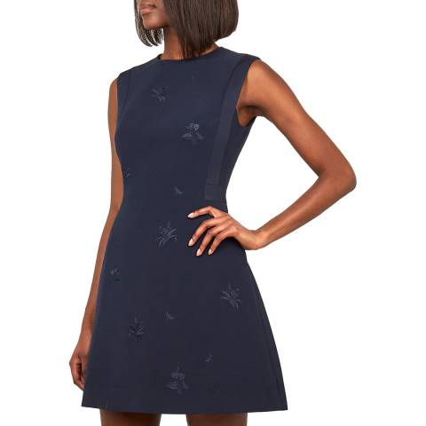 Ted Baker Navy Saahrad Embroidered Dress