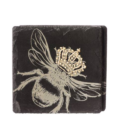 Just Slate Set of 2 Gold Leaf Crowned Bee Coasters
