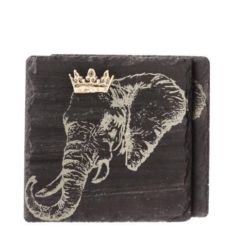 Just Slate Set of 2 Gold Leaf Crowned Elephant Coasters