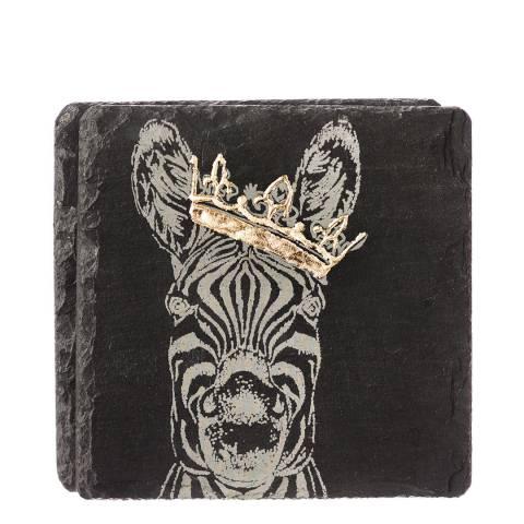 Just Slate Set of 2 Gold Leaf Crowned Zebra Coasters