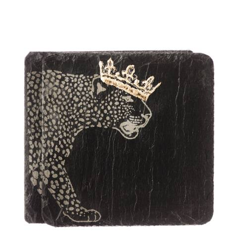 Just Slate Set of 2 Gold Leaf Crowned Leopard Coasters
