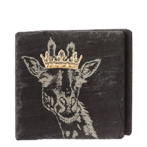Just Slate Set  of 2 Gold Leaf Crowned Giraffe Coasters
