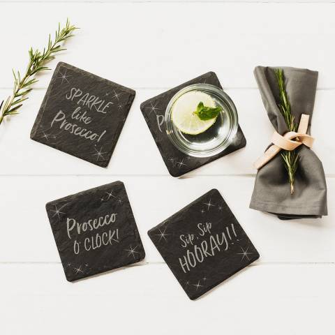 Just Slate Set of 4 Prosecco Coasters