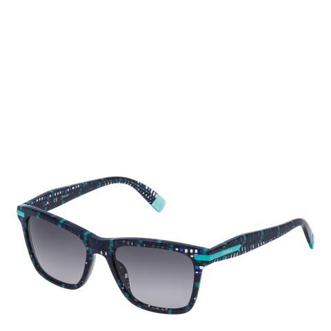 Furla Blue Crystal Square Fantasy Sunglasses