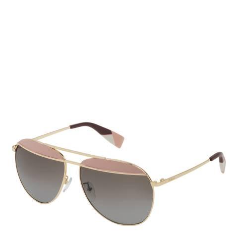 Furla Light Gold Pink Aviator Sunglasses