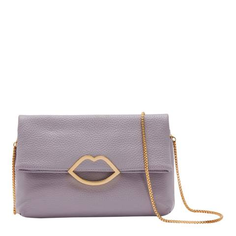 Lulu Guinness Lavender Grey Cut Out Lip Issy Bag