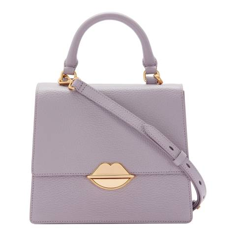 Lulu Guinness Lavender Grey Lip Push Lock Patty Bag