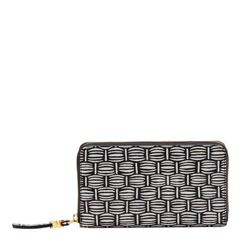 Lulu Guinness Black Basket Weave Continental Wallet