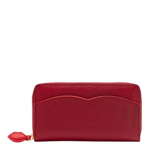 Lulu Guinness China Red Cupids Bow Continental Wallet