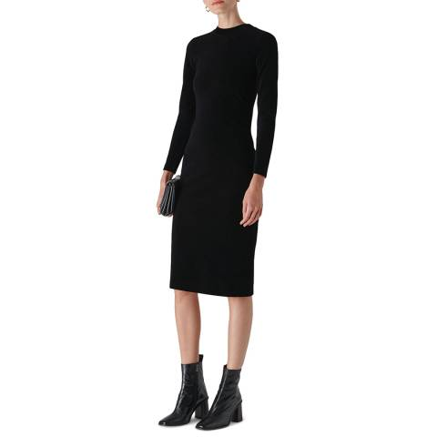 WHISTLES Black Slim Jersey Dress