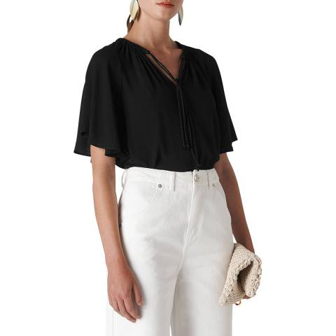 WHISTLES Black Cory Tie Neck Blouse