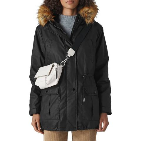 WHISTLES Black Willow Waxy Parka