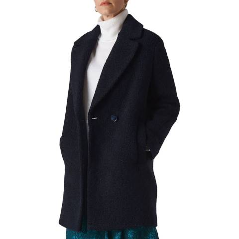 WHISTLES Navy Boucle Double Breasted Coat