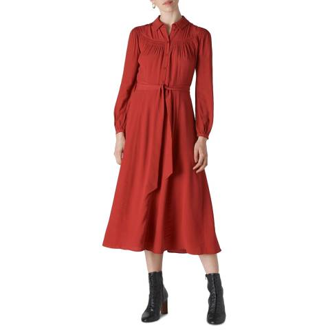 WHISTLES Red Smocked Yoke Shirt Dress
