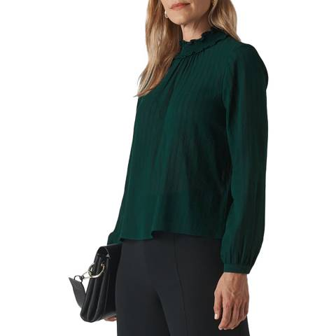 WHISTLES Dark Green High Neck Stripe Blouse