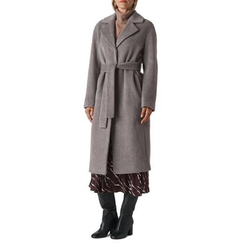 WHISTLES Grey Darcey Drawn Belted Wrap Coat