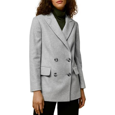 WHISTLES Grey Oversized Wool Blend Blazer