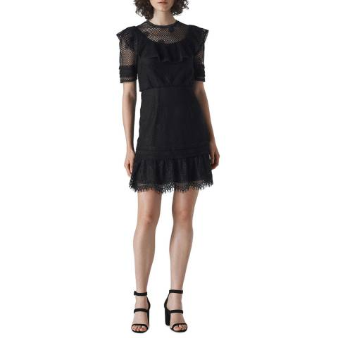 WHISTLES Black Mariah Lace Ruffle Dress