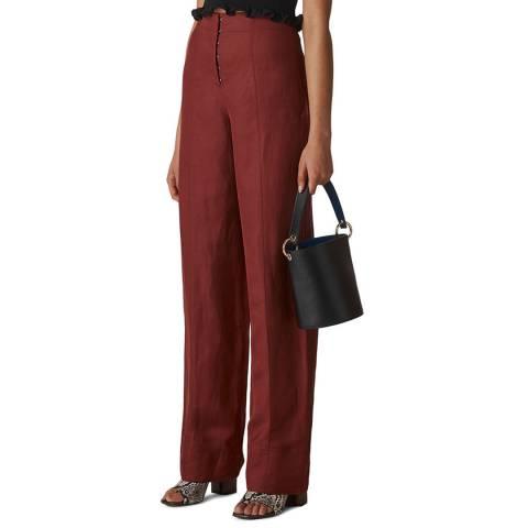 WHISTLES Deep Red Sakari Corset Trousers
