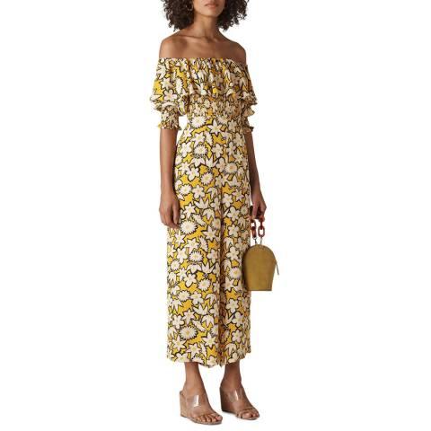 WHISTLES Yellow Rhea Print Silk Jumpsuit