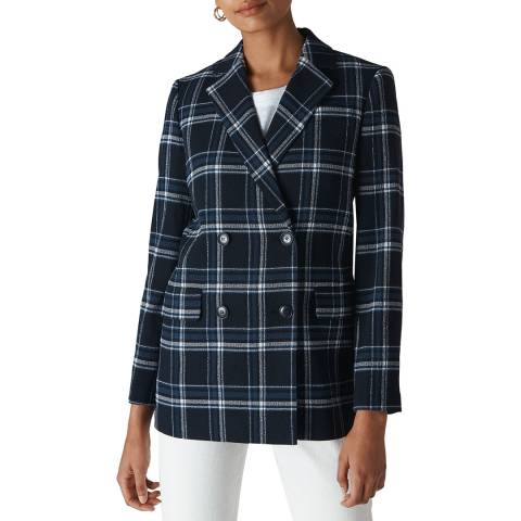 WHISTLES Navy Check Double Breasted Blazer