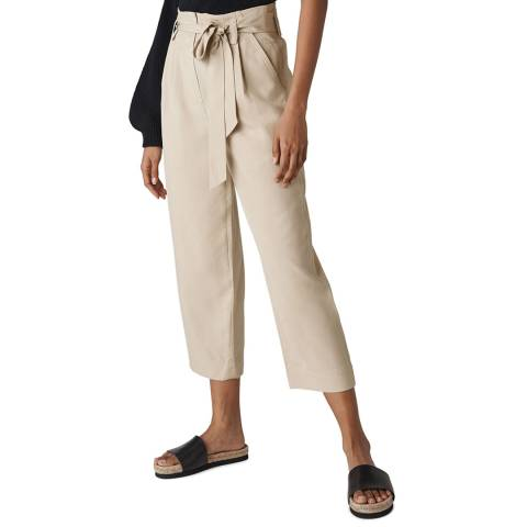 WHISTLES Neutral Paper Bag Belted Trousers