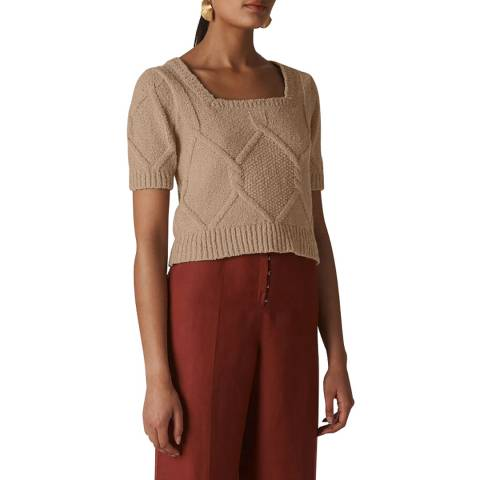 WHISTLES Neutral Puff Sleeve Cable Knit Top
