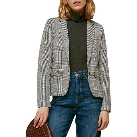 WHISTLES Black/White Check Slim Jersey Jacket