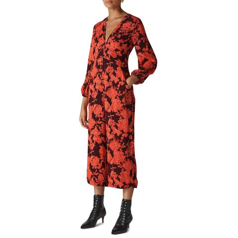 WHISTLES Red/Multi Juana Silk Jumpsuit