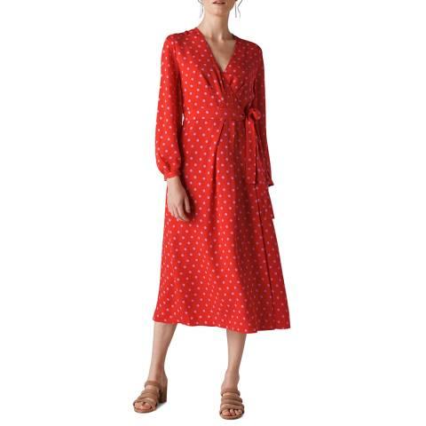 WHISTLES Red Spot Maria Silk Wrap Dress