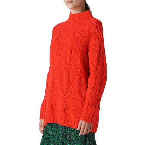 WHISTLES Red Cashmere Cable Knit Jumper