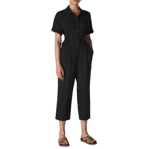 WHISTLES Black Lidia Button Jumpsuit