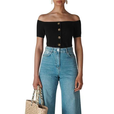 WHISTLES Black Button Front Rib Knit Top