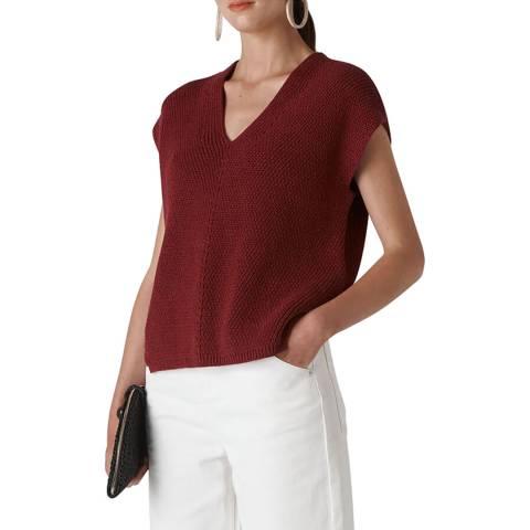 WHISTLES Deep Red Pomona Rib Knit Top